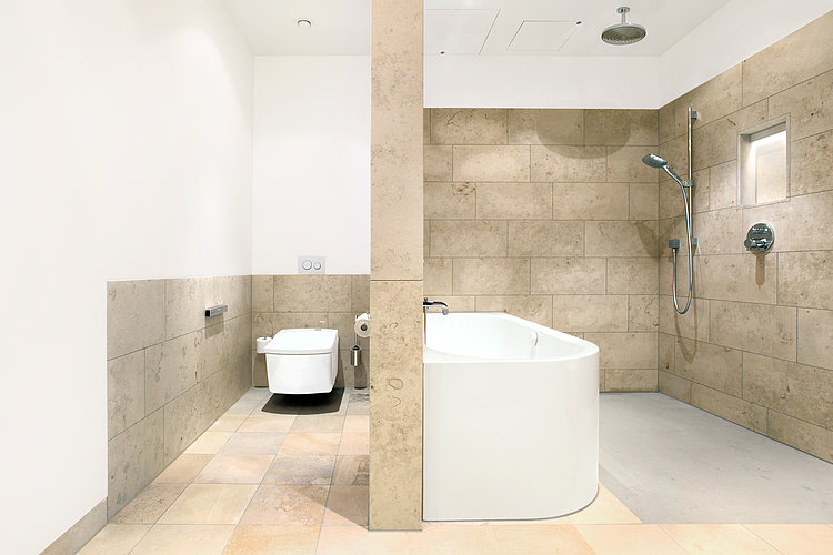 Spacious bathroom with WASHLET™ at Hotel Schloss Elmau