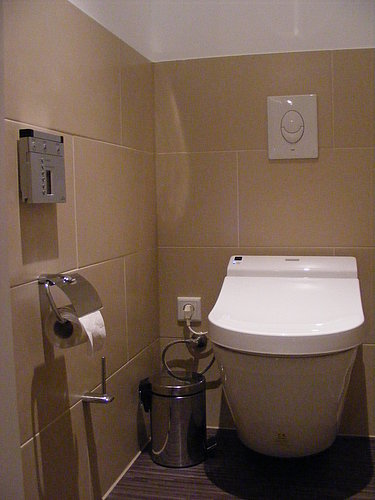 Wall-mounted WASHLET™ with remote control on the wall