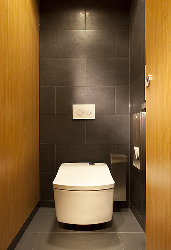 Wall-mounted WASHLET™ SE against dark tiles