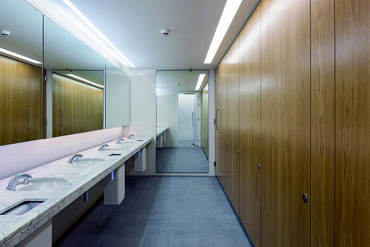 Public bathrooms at Banking Hall building in Moorgate