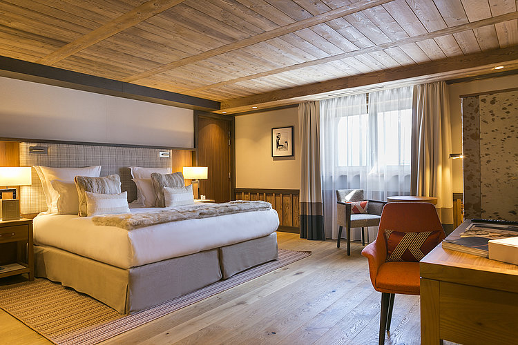 Double bed suite at Hotel Les Neiges in Courchevel