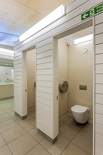 Stalls with rimless toilet at Hurlingham Club in London