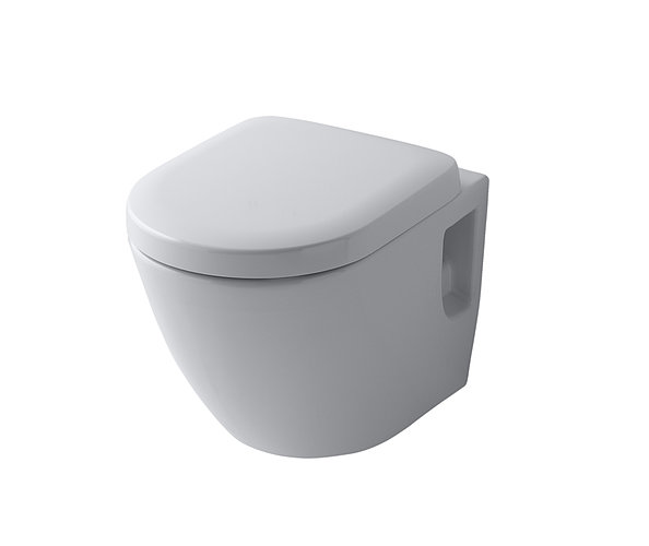 Isolated wall-hung toilet with white background