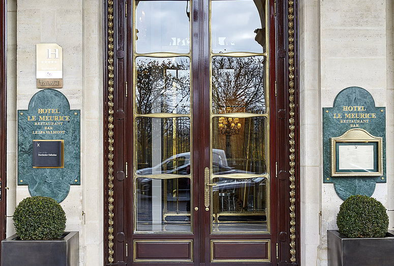Outside view of entrance door to Hotel Meurice in Paris