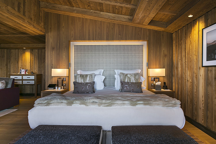 Double bed suite at Les Neiges in Courchevel